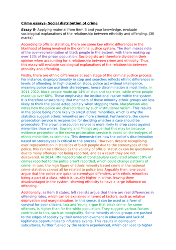 AQA A-Level Sociology- Crime and Deviance Essays
