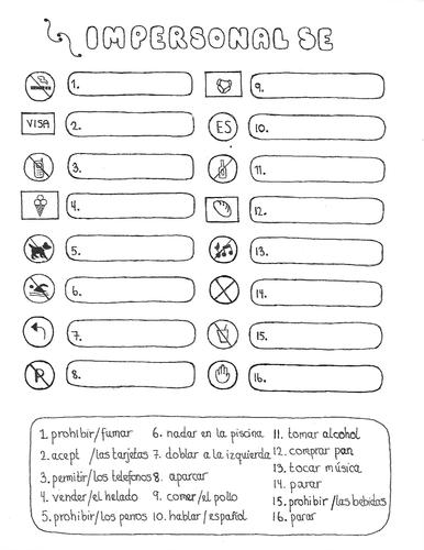Spanish impersonal se hand drawn no prep fun worksheet
