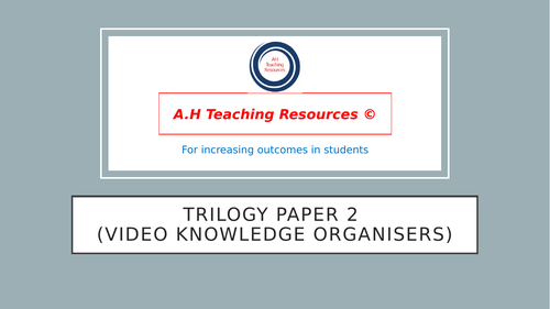 Science Trilogy Paper 2 Knowledge Organisers