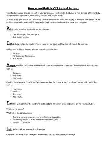 OCR A Level Business Exam Skills - How to use PEAEL