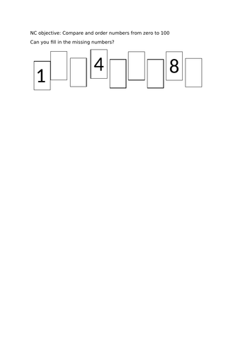 Year 2 Count and order numbers to 100 - 3 differentiated worksheets