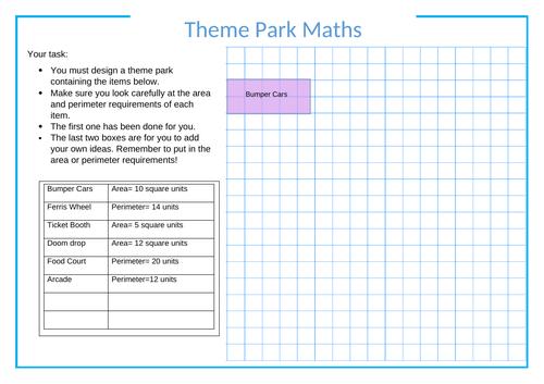 Area and Perimeter Theme Park designing