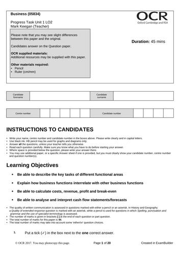 CTEC Business Unit 1 Progress Task LO2