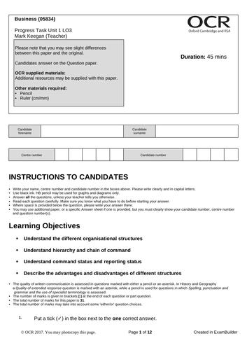CTEC Business Unit 1 Progress Task LO3