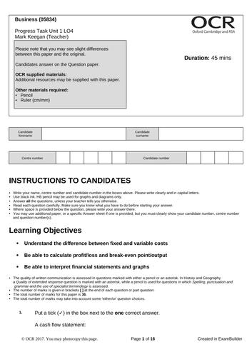 CTEC Business Unit 1 Progress Task LO4