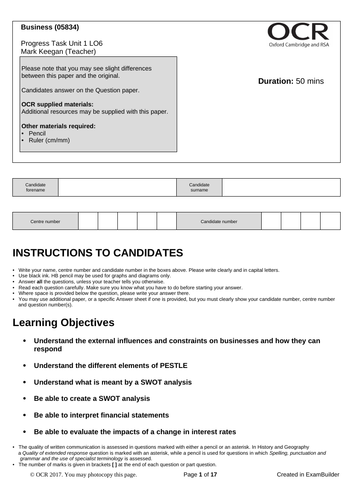 CTEC Business Unit 1 Progress Task LO6