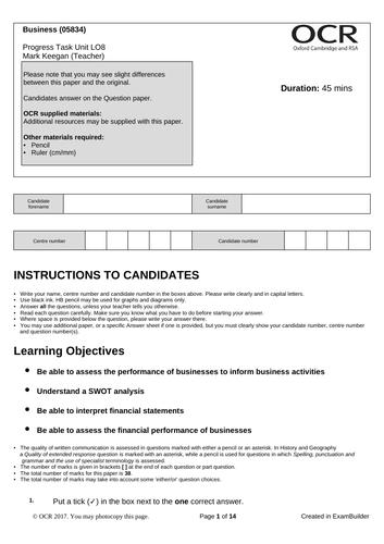 CTEC Business Unit 1 Progress Task LO8