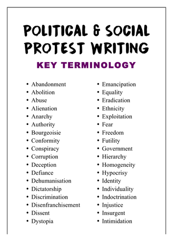 Protest Writing: Key Terminology (AQA)