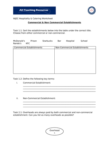 Commercial and Non-Commercial Establishments Worksheets