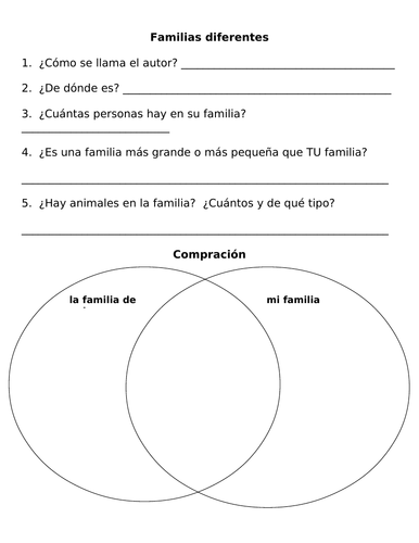 Cultural Spanish Family Essays Listening and Reading Activity