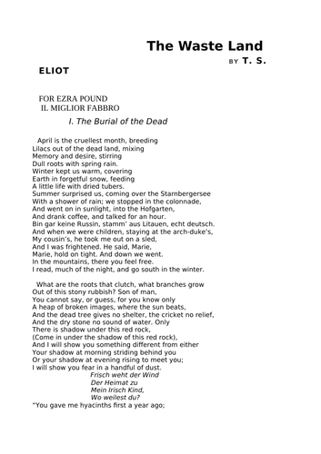 The Waste Land by T.S. Elliot