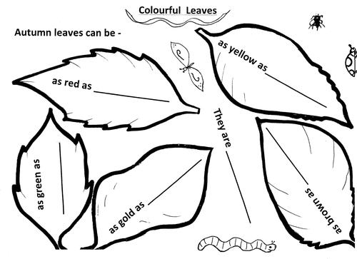 Leaf colour simile writing
