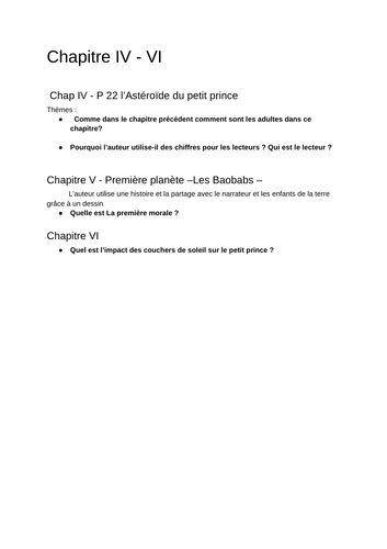 Le Petit Prince ( Resources) for IB French B  / Ressources pour Le Petit Prince  IB Francais B
