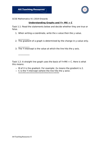 Understanding Graphs and Y=MX+C Worksheets