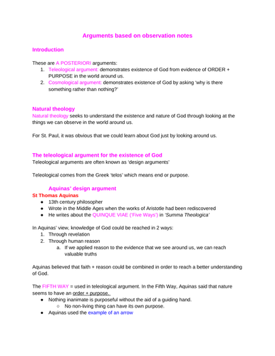Arguments based on observation A-level REP (OCR)