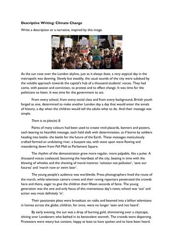 Descriptive Writing: Climate Change Protest