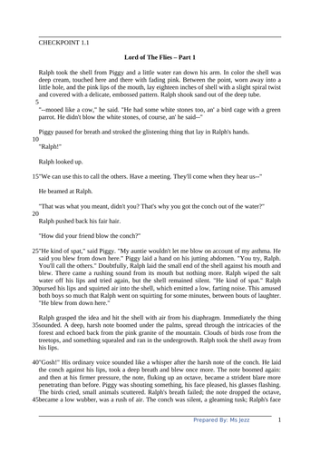 Year 9 IGCSE English Comprehension 1 (Lord of The Flies Part 1)