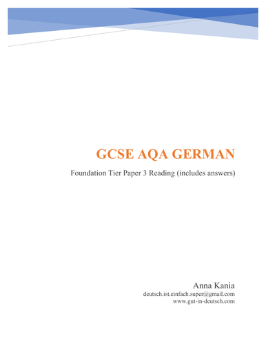 GCSE German Reading Foundation Tier (Revision/Practice Test)