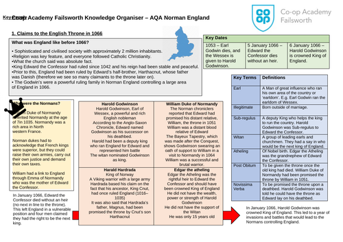 AQA Norman England Knowledge Organisers and Homework Tasks