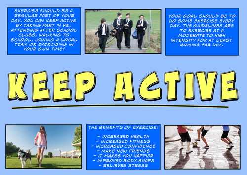 Healthy, Active Lifestyle - PE Display Board Posters