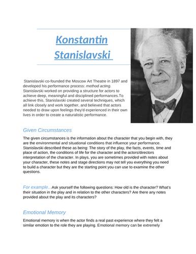 GCSE/A-Level Drama Stanislavski case file