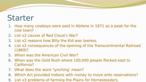 The Range Wars- GCSE History American West