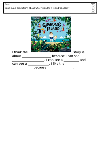 Grandad's island story prediction  - differentiated ks1/year 2