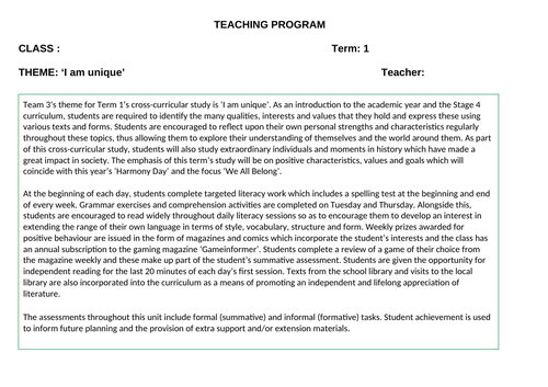 I Am Unique Cross- Curricula Program of Study for Students who have Challenging Behaviours