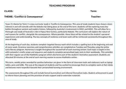 Conflict and Consequence Thematic Cross-Curricular Program for a Behaviour or Support (SEN) Setting