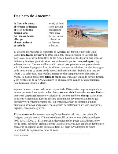 Desierto de Atacama Lectura y Cultura: Chilean Desert Spanish Reading
