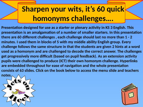 Extend your vocabulary, 60 homonym challenges