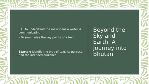 Beyond the Sky and Earth - Journey into Bhutan Analysis