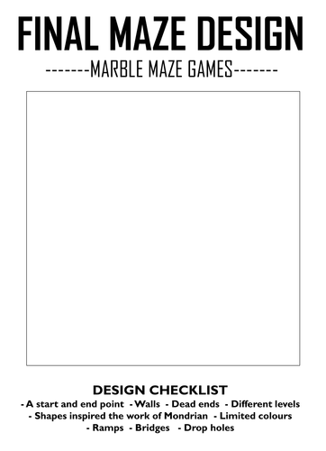 Mondrian Marble Maze Game Project
