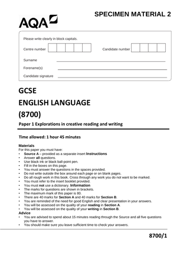 AQA STYLE English Language Paper 1 Sample Exam Paper