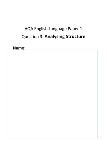 Structural Analysis - AQA Eng Lang Paper 1 Q3 Revision