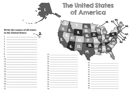 Numbered map of United States of America