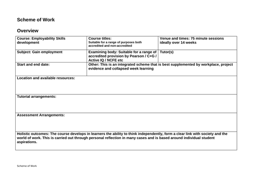 Complete scheme of work to support job applications over 14 weeks