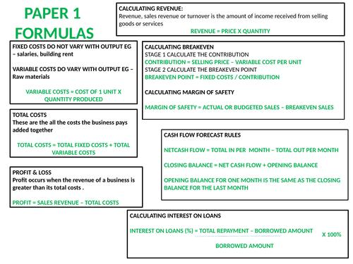 POSTER COVERING ALL PAPER 1 & PAPER 2 EDEXCEL GCSE BUSINESS FORMULAS