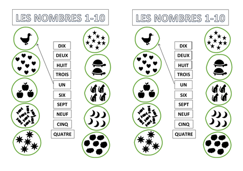 French numbers 1-20. Matching activity