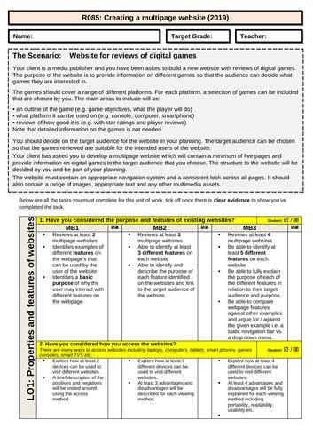 R085 - OCR iMedia - Student Friendly Checklist