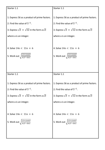 1-5 starter set HIGHER GCSE