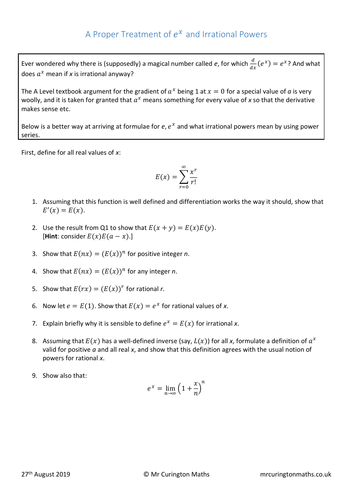 A Proper Treatment of e^x