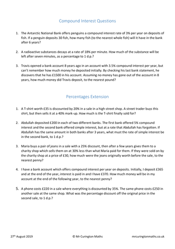 Compound Interest and Percentages Extension