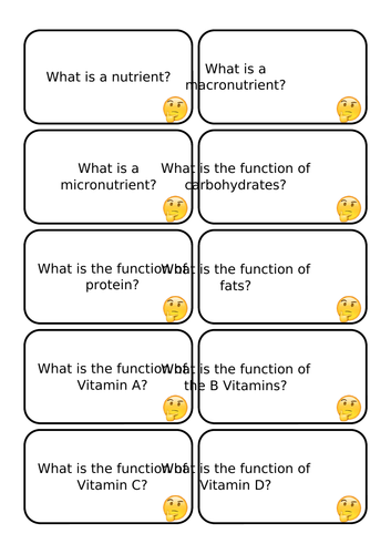 Nutrient Question Cards