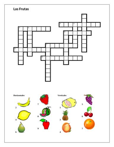 Frutas (Fruit in Spanish) Crossword
