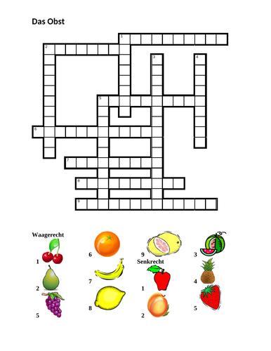 Obst (Fruit in German) Crossword