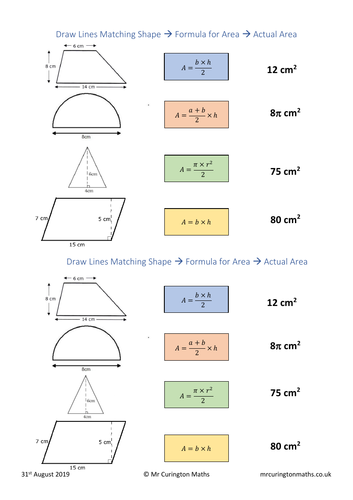 Area of 2D Shapes Match-Up