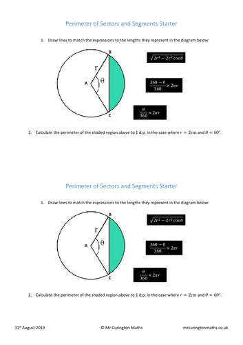 Perimeter of Sectors and Segments Starter