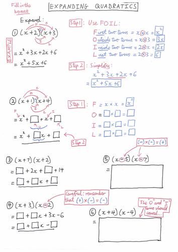 Expanding Quadratics Scaffolded Worksheet