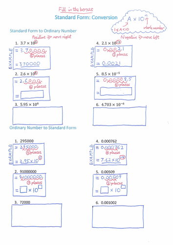 Standard Form Scaffolded Worksheet